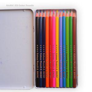 مدادرنگی 12 رنگ BASIC جعبه فلزی